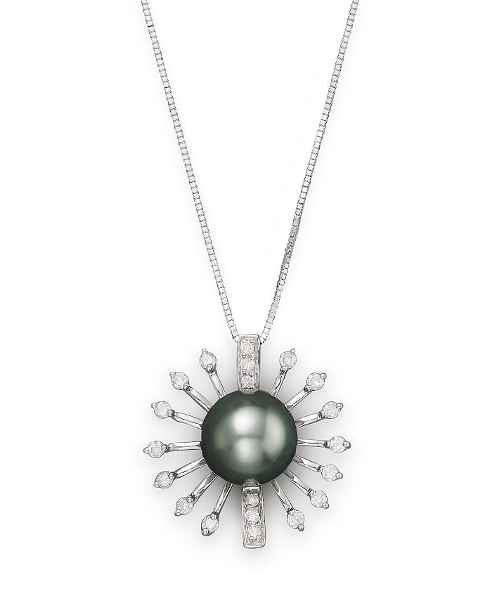 "Bloomingdale's - Diamond and Tahitian Pearl Pendant Necklace in 14K White Gold, 18"" - 100% Exclusive"