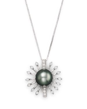Diamond and Tahitian Pearl Pendant Necklace in 14K White Gold, 18