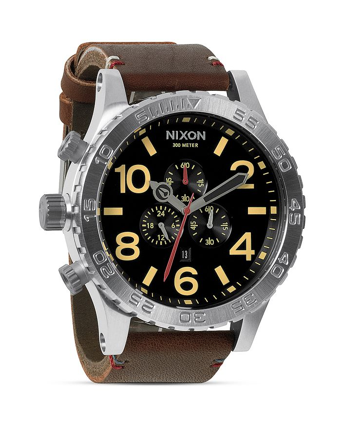 Nixon Watches THE 51-30 CHRONO LEATHER WATCH, 51MM