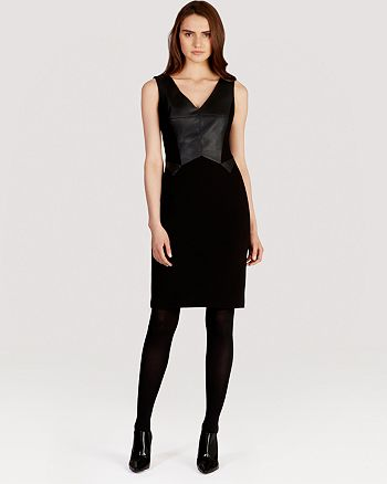 KAREN MILLEN - Faux Leather and Jersey Collection Dress