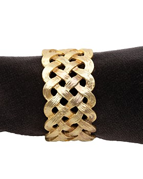 L'Objet - Matte Gold Plated Braid Napkin Rings, Set of 4