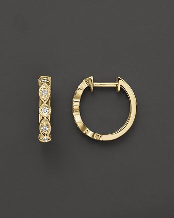 KC Designs - Bezel Set Diamond Hoops in 14K Yellow Gold, .12 ct. t.w.