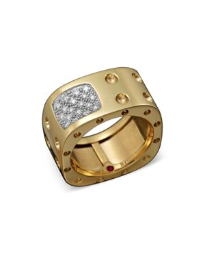 18K Yellow Gold Pois Moi Diamond Double Row Square Ring