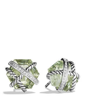 David Yurman - Cable Wrap Earrings with Prasiolite and Diamonds