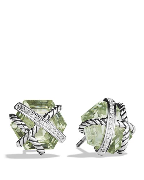 David Yurman Cable Wrap Earrings With Prasiolite And Diamonds