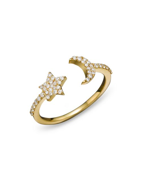 Meira T - 14K Yellow Gold Moon & Star Ring with Diamonds