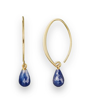 Bloomingdale's - 14K Yellow Gold Simple Sweep Earrings with Sapphire - 100% Exclusive