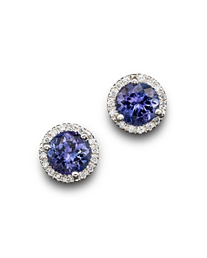 Bloomingdale's Tanzanite and Diamond Halo Stud Earrings in 14K White Gold - 100% Exclusive