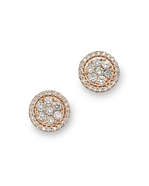 Diamond Cluster Studs in 14K Rose Gold, .60 ct. t.w. - 100% Exclusive
