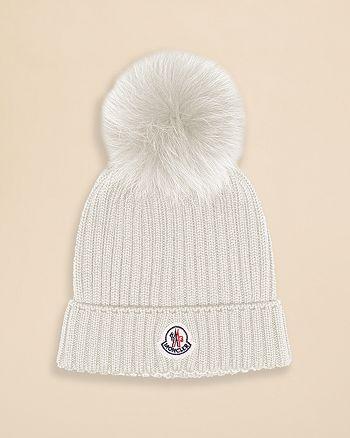 be264eba065 Moncler - Girls  Fur Pom Pom Hat - Sizes M-XL