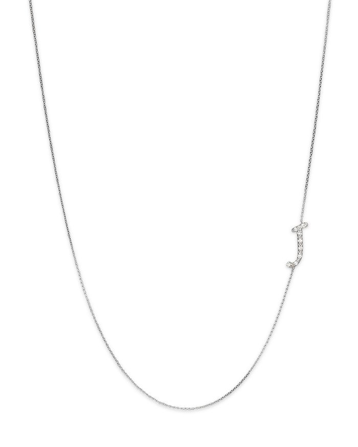 KC Designs - Diamond Side Initial J Necklace in 14K White Gold, .05 ct. t.w.