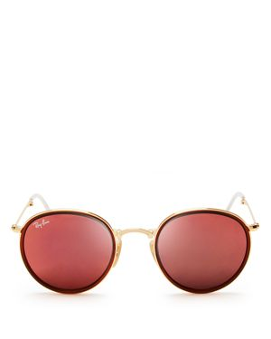 Ray-Ban Foldable Round Mirrored Sunglasses, 51mm