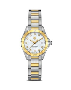 TAG Heuer Aquaracer 300M Quartz Stainless Steel and 18K Yellow Gold Watch with Diamonds, 27mm - Bloomingdale's_0
