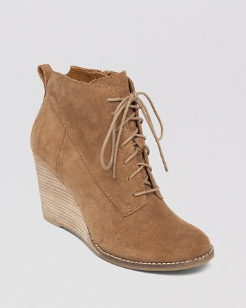 $Lucky Brand Lace Up Wedge Booties - Yoanna - Bloomingdale's