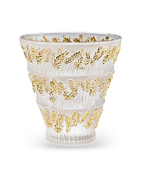 Lalique - Provence Clear & Gold Stamped Vase