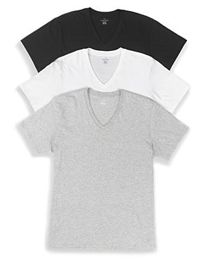 New Calvin Klein Cotton Classics V-Neck Tees, Pack of 3, Grey/White/Black