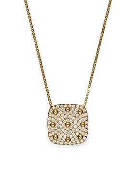 Roberto Coin - 18K Yellow Gold Pois Moi Square Pendant Necklace with Diamonds, 16""