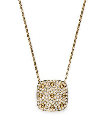"Roberto Coin - 18K Yellow Gold Pois Moi Square Pendant Necklace with Diamonds, 16"""