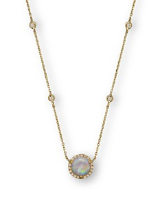 "Bloomingdale's - Opal and Diamond Halo Pendant and Station Necklace in 14K Yellow Gold, 15"" - 100% Exclusive"
