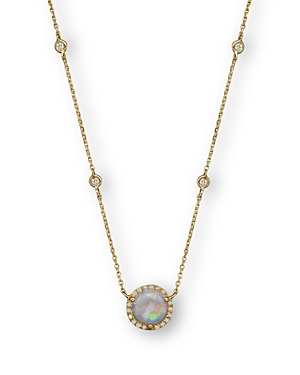Opal and Diamond Halo Pendant and Station Necklace in 14K Yellow Gold, 15 - 100% Exclusive