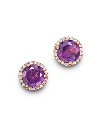 Bloomingdale's - Amethyst and Diamond Halo Stud Earrings in 14K Rose Gold - 100% Exclusive