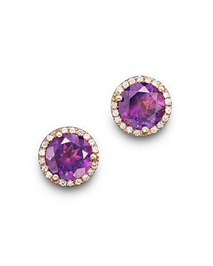 Amethyst and Diamond Halo Stud Earrings in 14K Rose Gold - 100% Exclusive