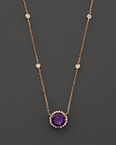 Amethyst necklaces bloomingdales amethyst and diamond halo pendant necklace with 4 stations in 14k rose gold 16 mozeypictures Choice Image