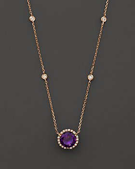 Bloomingdale's - Amethyst and Diamond Halo Pendant Necklace with 4 Stations in 14K Rose Gold - 100% Exclusive
