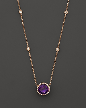 Amethyst and Diamond Halo Pendant Necklace with 4 Stations in 14K Rose Gold, 16 - 100% Exclusive