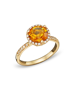 Citrine and Diamond Halo Ring in 14K Yellow Gold - 100% Exclusive