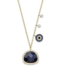 """Meira T - 14K Yellow Gold Sapphire Evil Eye Disc Necklace with 14K White Gold Side Bezels, 16"""""""