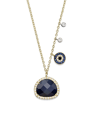 Meira T 14K Yellow Gold Sapphire Evil Eye Disc Necklace with 14K White Gold Side Bezels, 16-Jewelry & Accessories