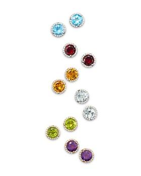 Bloomingdale's - Gemstone and Diamond Halo Stud Earrings in 14K Gold - 100% Exclusive
