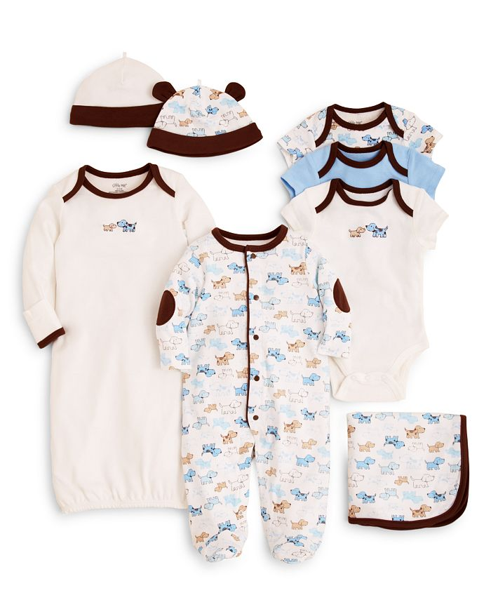 Little Me - Boys' Cute Puppies Bodysuit 3 Pack, Blanket & More - Baby