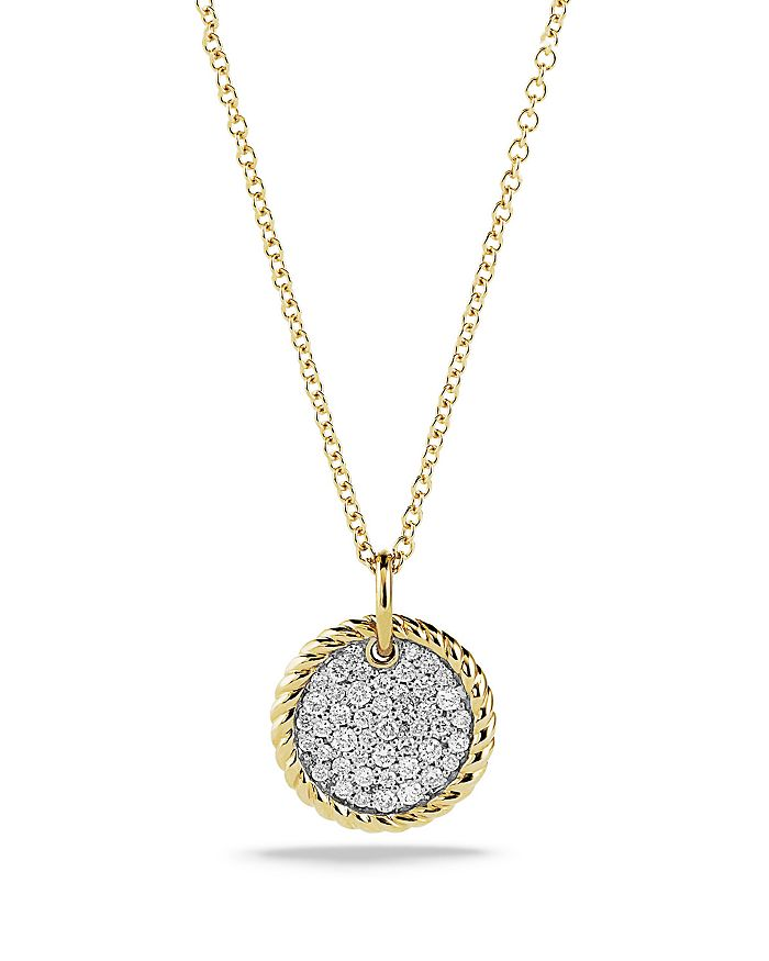 David Yurman - Cable Collectibles Pavé Charm Necklace with Diamonds in 18K Gold