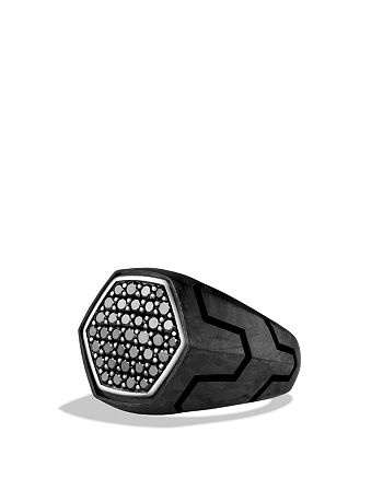 David Yurman - Forged Carbon Signet Ring with Black Diamonds