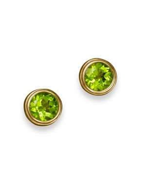 Peridot Bezel Set Stud Earrings in 14K Yellow Gold - 100% Exclusive