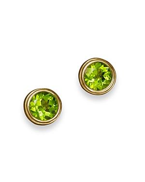 Peridot Bezel Set Stud Earrings in 14K Yellow Gold - 100% Exclusive