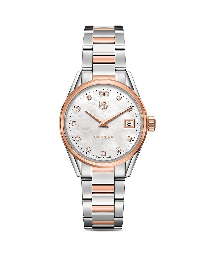 Carrera Stainless Steel And Rose Gold Watch With White Mother Of Pearl Dial 32mm