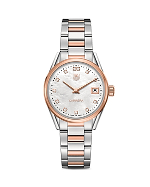Tag Heuer Carrera Stainless Steel and Rose Gold Watch with White Mother of Pearl Dial, 32mm