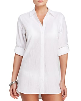 Tommy Bahama - Crinkle Boyfriend Shirt Swim Cover-Up