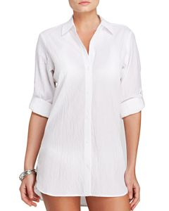 93b46624f877f Ralph Lauren Crushed Cotton Camp Shirt Swim Cover-Up | Bloomingdale's