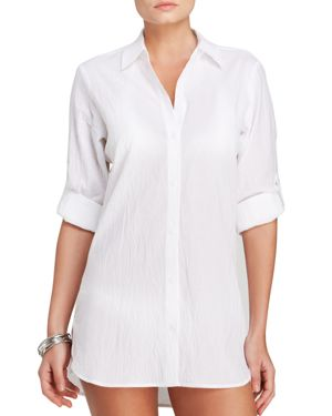 Tommy Bahama Crinkle Boyfriend Shirt Swim Cover-Up