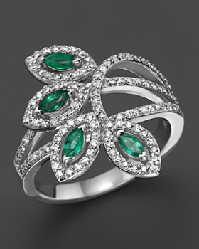 Bloomingdale's - Emerald and Diamond Ring in 14K White Gold- 100% Exclusive