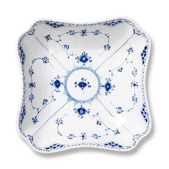 Royal Copenhagen - Blue Fluted Half Lace Square Serving Bowl