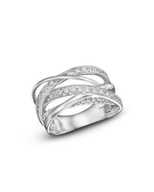 Diamond Multirow Crossover Ring in 14K White Gold, 1.15 ct. t.w.