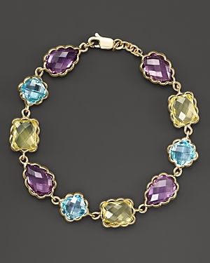 Amethyst, Blue Topaz and Green Quartz Bracelet in 14K Yellow Gold - 100% Exclusive