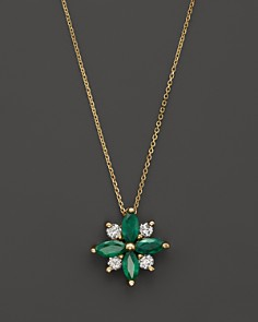 """Emerald and Diamond Flower Pendant Necklace in 14K Yellow Gold, 18"""" - 100% Exclusive - Bloomingdale's_0"""