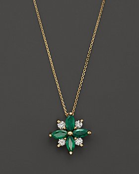 "Bloomingdale's - Emerald and Diamond Flower Pendant Necklace in 14K Yellow Gold, 18"" - 100% Exclusive"