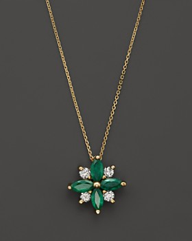 """Bloomingdale's - Emerald and Diamond Flower Pendant Necklace in 14K Yellow Gold, 18""""- 100% Exclusive"""